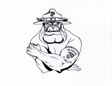 Title - Teufelhund USMC (Tattoo Design) Style - Cartoon/Tattoo Medium - Ink