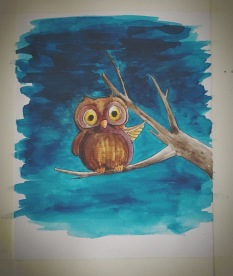 Title - Owl (Unfinished) Style - Cartoon Medium - Watercolour